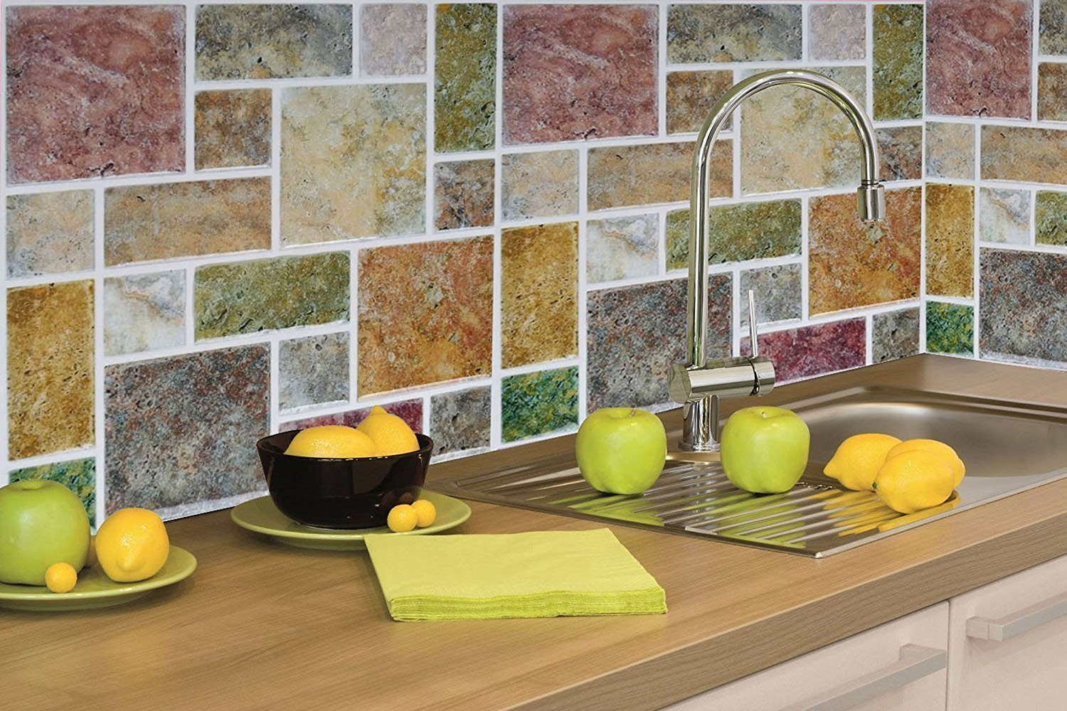 Tile Sticker Peel And Stick Vinyl Kitchen Backsplash Wall Stickers Multicolour 23x23cm Pack Of 4 Amazon In Home Kitchen