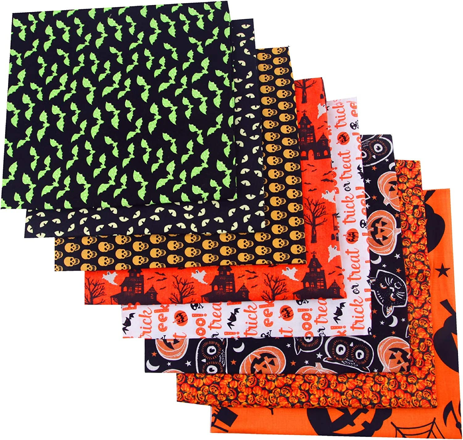 8pcs 19.6/×19.6 Halloween Themed Pumpkin Skull Bat Pattern Cotton Holiday Triangle Flag Fabric