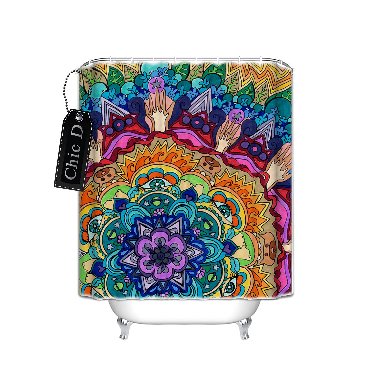 """Beautiful Mandala Pattern"" Personalized Custom Waterproof/Mildew Resistant Fabric Shower Curtain Stall Extra Long Size 54""x78"""
