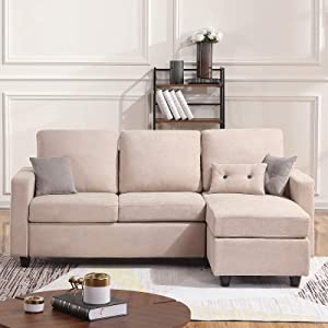 HONBAY Convertible Sectional Sofa Couch, L-Shaped Couch