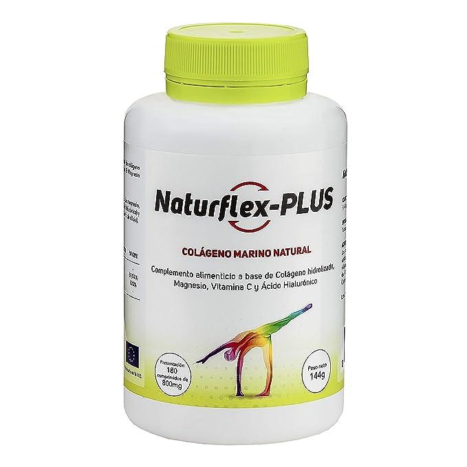 NaturFlex-Plus. Colágeno Marino Natural + Magnesio + Vitamina C + Ácido Hialurónico. 180 Comp. 144 gr.: Amazon.es: Salud y cuidado personal