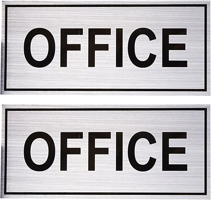 2-Pack Office Signs - Office Wall Plates, Self-Adhesive Aluminum Office Signage for Wall or Door, Silver - 7.87 x 3.6 Inches