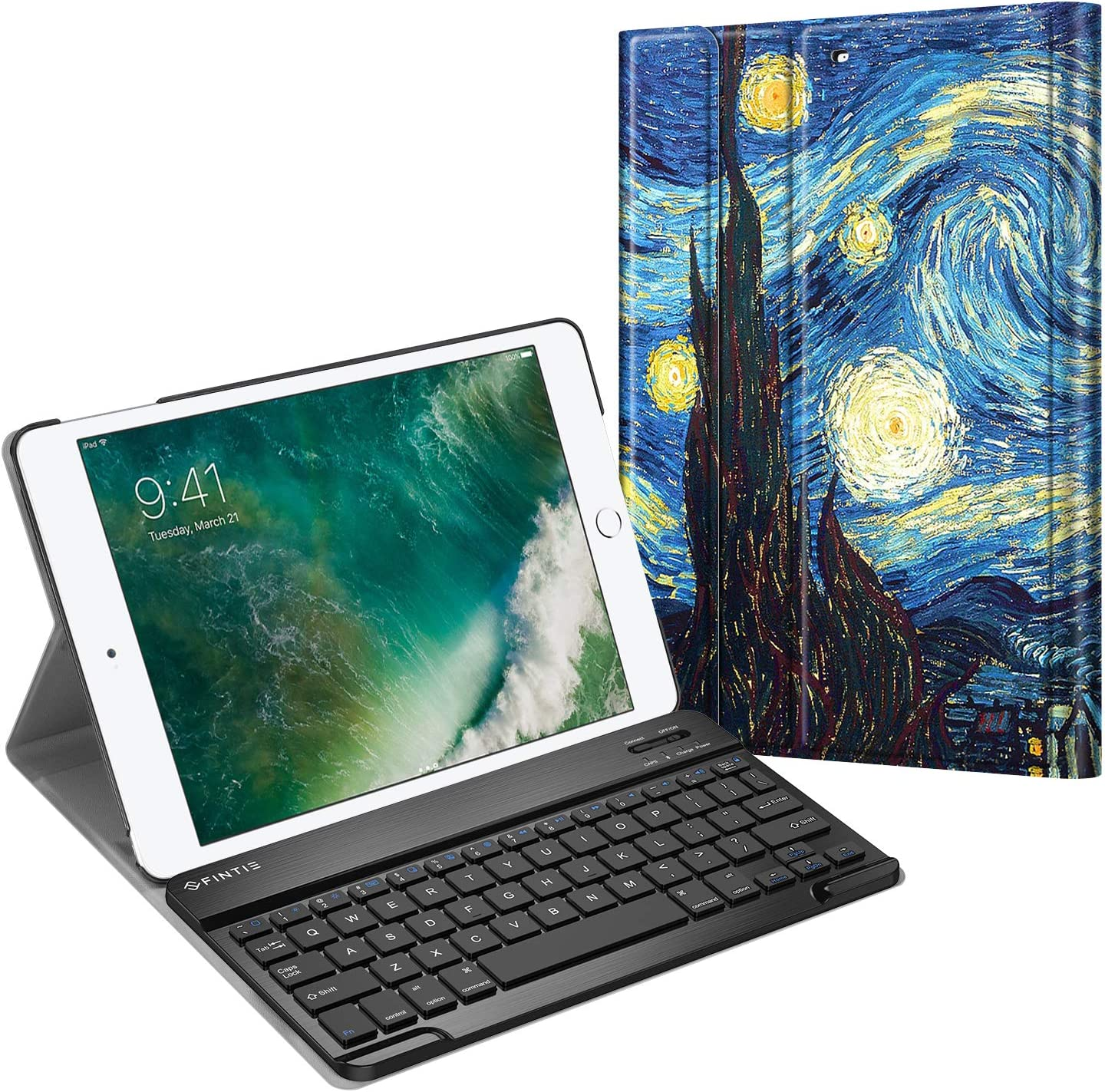 Fintie Keyboard Case for iPad 9.7 2018/2017 / iPad Air 2 / iPad Air - Slim Shell Stand Cover w/Magnetically Detachable Wireless Bluetooth Keyboard for iPad 6th / 5th Gen, iPad Air 1/2, Starry Night