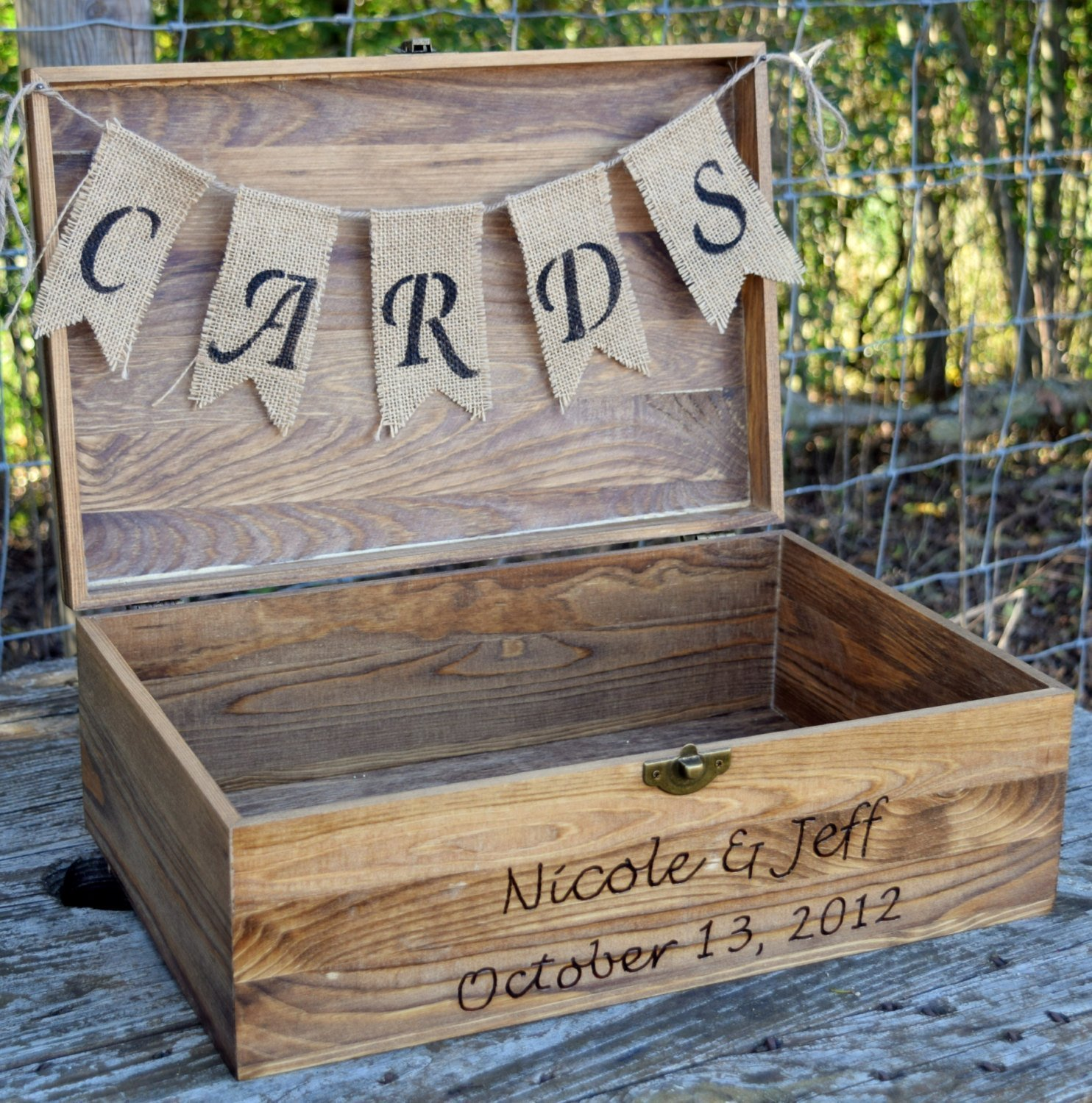 Best rated in card boxes helpful customer reviews amazon rustic wooden card box rustic wedding card box rustic wedding decor large wedding junglespirit Image collections