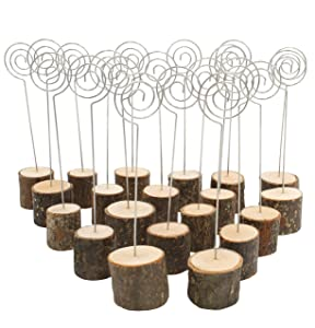 Royal Brands (20 Pack) Rustic Real Wood Stump Base Wedding Table Name Number Holder Party Wedding Decoration Place Card Holders Picture Memo Note Photo Spiral Clip Holder Food Tags