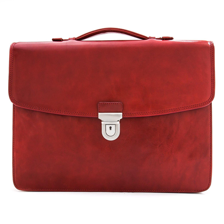 CUSTOM PERSONALIZED INITIALS ENGRAVING Tony Perotti Mens Italian Leather Alfero Single Compartment Document Briefcase in Red by Tony Perotti