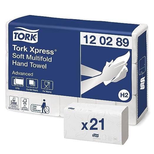 Tork 120289 - Juego de 21 paquetes x 180 toallas de papel plegadas en Z, 2 capas, color blanco: Amazon.es: Industria, empresas y ciencia