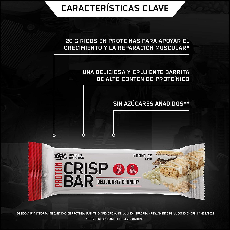 Optimum Nutrition Protein Crisp Bar Barritas Proteínas con Whey Protein Isolate, Dulces Altas en Proteína y Low Carb, Malvavisco, 10 Barras (10 x 65 ...
