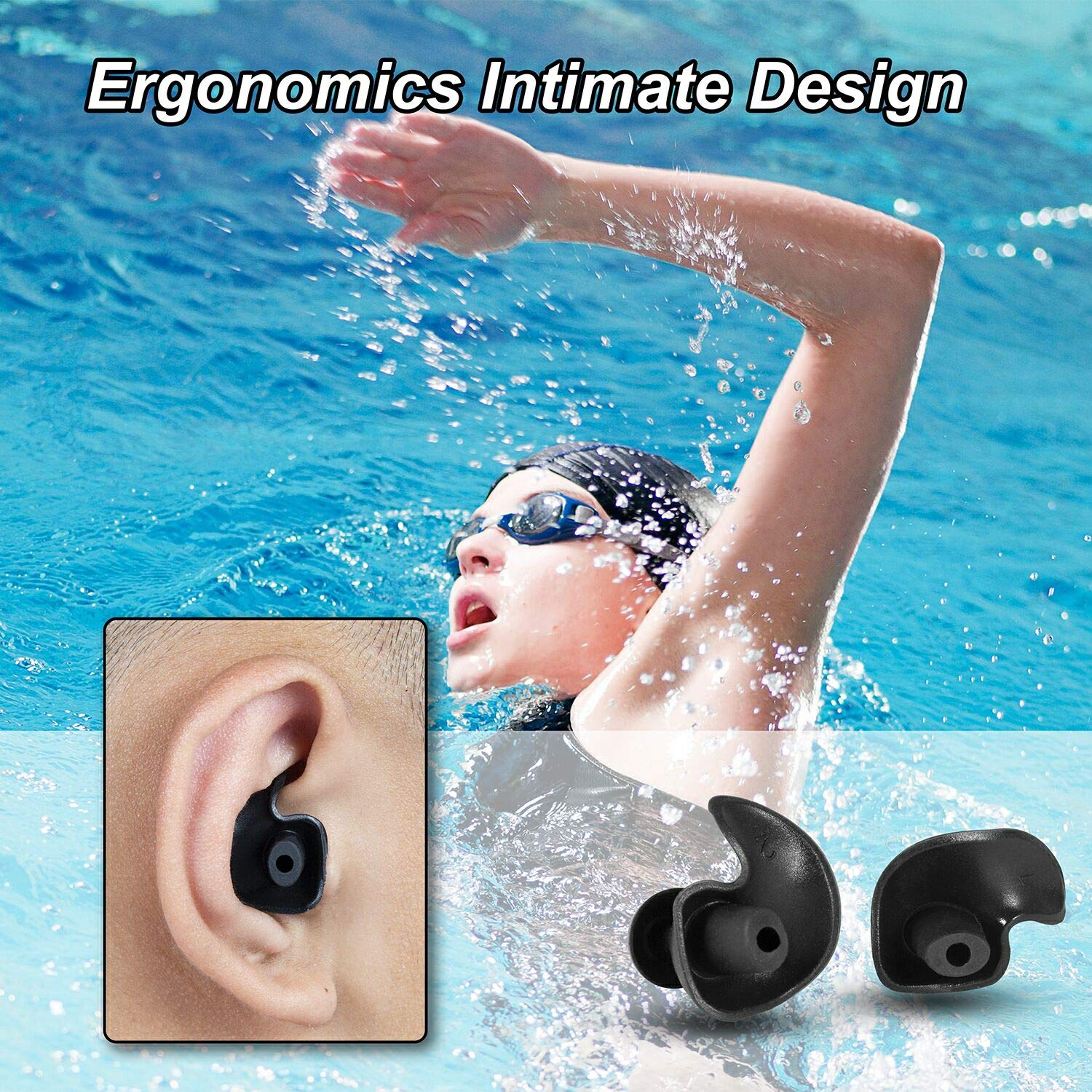 8 Pairs, 4 Colors 8 Pairs Swimming Earplugs Silicone Ear Plugs Reusable Waterproof for Swimming Showering Bathing Surfing Snorkeling and Other Water Sports Adults Size
