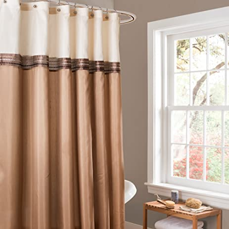 Lush Decor Terra Shower Curtain, 72 By 72 Inch, Beige/Ivory