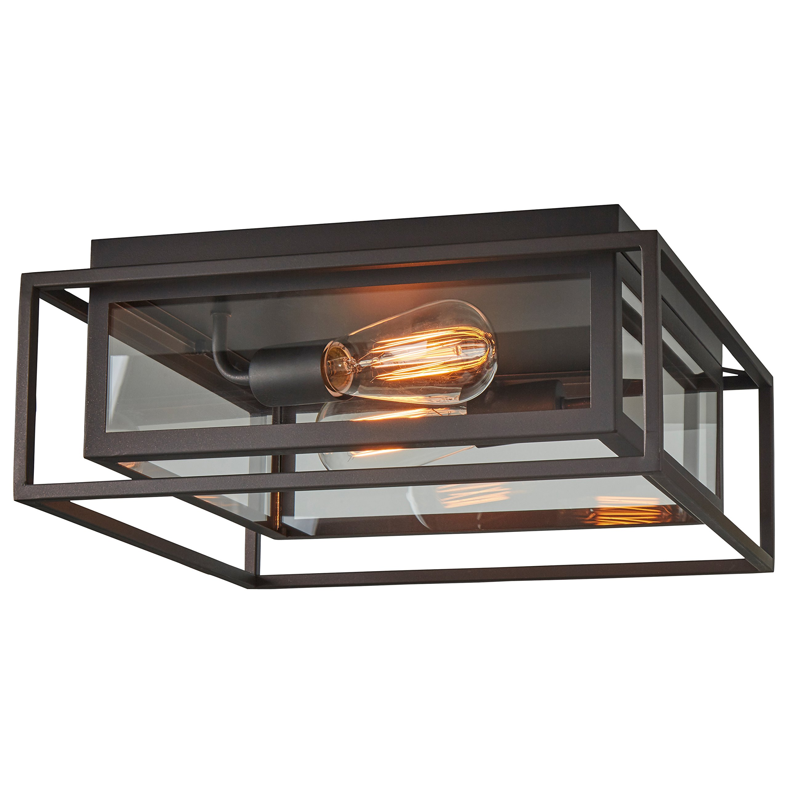 Stone & Beam Industrial Flush Mount Light With Bulbs, 6.5''H, Oil-Rubbed Bronze by Stone & Beam