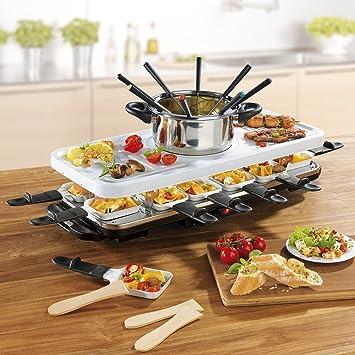 Raclette y fondue Set (1,600 Watt, Eléctrico de accesorios para raclette parrilla, Sartenes