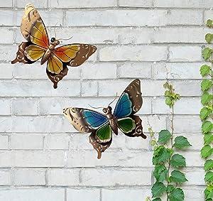 starbluegarden 2Pcs/Set Garden Decor - Butterfly Patio Wall Decoration, Metal Glass Sculpture, Indoor Outdoor Wall Art