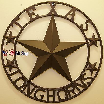 Amazon.com: Texas Longhorns Metal Star Circle Wall Hanging ...