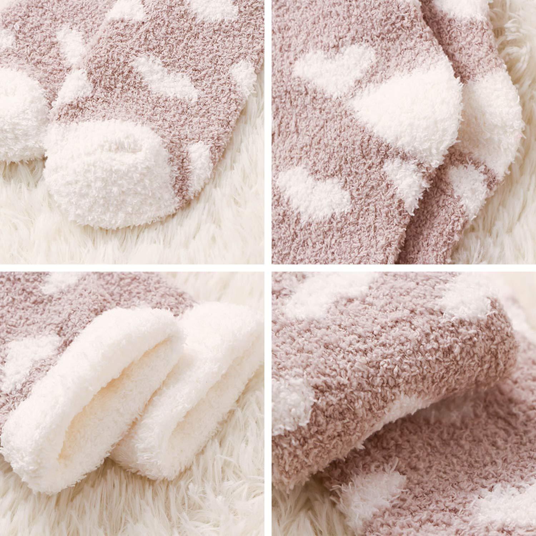 Lisli Plush Slipper Socks Women Girls Colorful Warm Crew Socks Cozy Soft 8 Pairs for Winter Indoor