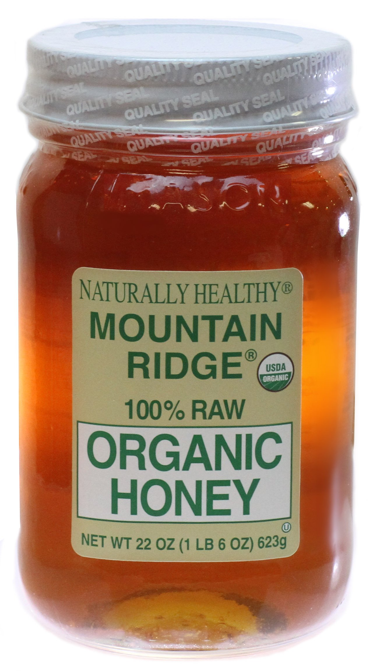 USDA Organic Mountain Ridge Honey - 22 oz of 100% Pure Raw Honey in Glass Mason Jar.