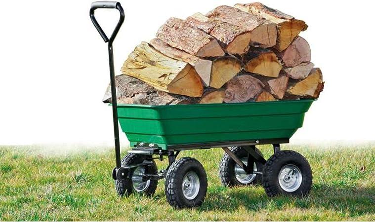 WerkaPro 10946 – Carro remolque de jardín – 52 litros – hasta 120 kg – montado sobre 4 ruedas hinchables – 2 ejes – 1 direccional: Amazon.es: Bricolaje y herramientas