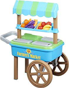 American Plastic Toys My Very Own Farmers Market Cart with 20 Accessories