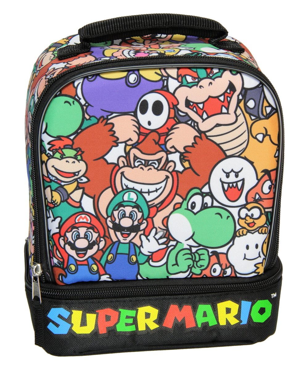 Super Mario Lunch Box Soft Kit Dual Compartment Insulated Cooler Characters Accessory Innovations