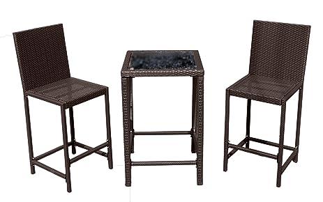 AZ Patio Heaters Patio Furniture, Bar Height Resin Wicker 3 Piece Set In  Dark Brown