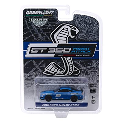 2016 Ford Mustang Shelby GT350#12 Deep Impact Blue Ford Performance Racing School GT350 Track Attack 1/64 Diecast Model Car by Greenlight 30109: Toys & Games