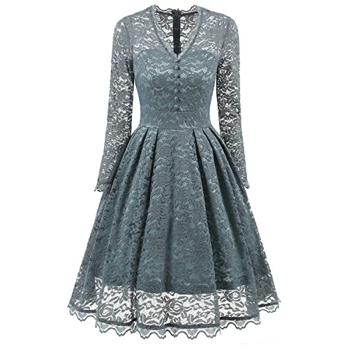 NALATI Women Vintage Long Sleeve V Neck Floral Print Party Cocktail Dress (L=UK