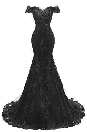 dbc822c950b Scarisee Women s Mermaid Off Shoulder Evening Prom Dresses Lace Appliqued Beaded  Formal Party Gowns Black 02