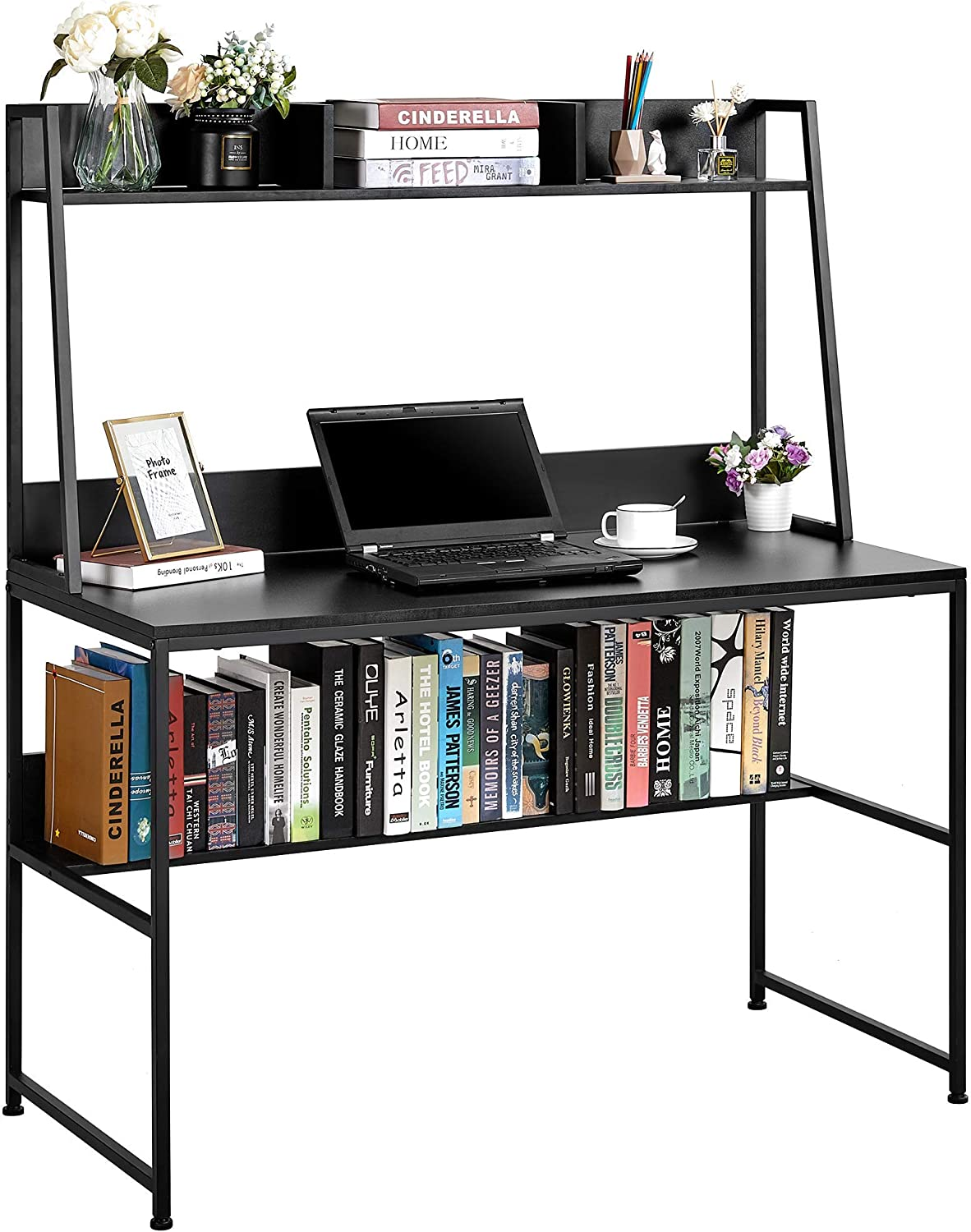 Kealive 47.2 inch Computer Desk with Hutch and Shelf, Writing Study Table with Bookshelf, Modern Home Office Desk for Small Space, PC Laptop Workstation Steel Frame & Wood Desk, Black