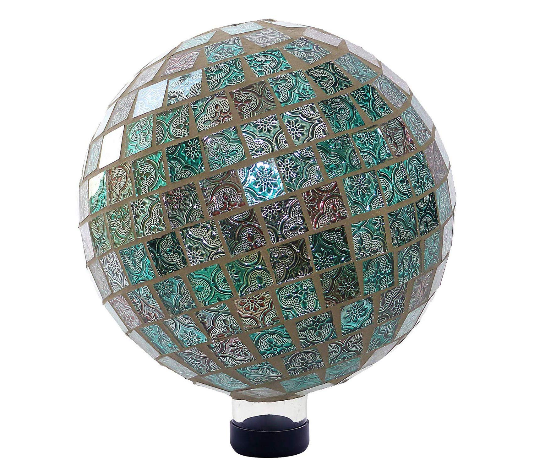 Outdoor Garden Backyard Décor Mosaic Gazing Globe, 11 Inch Tall Turquoise