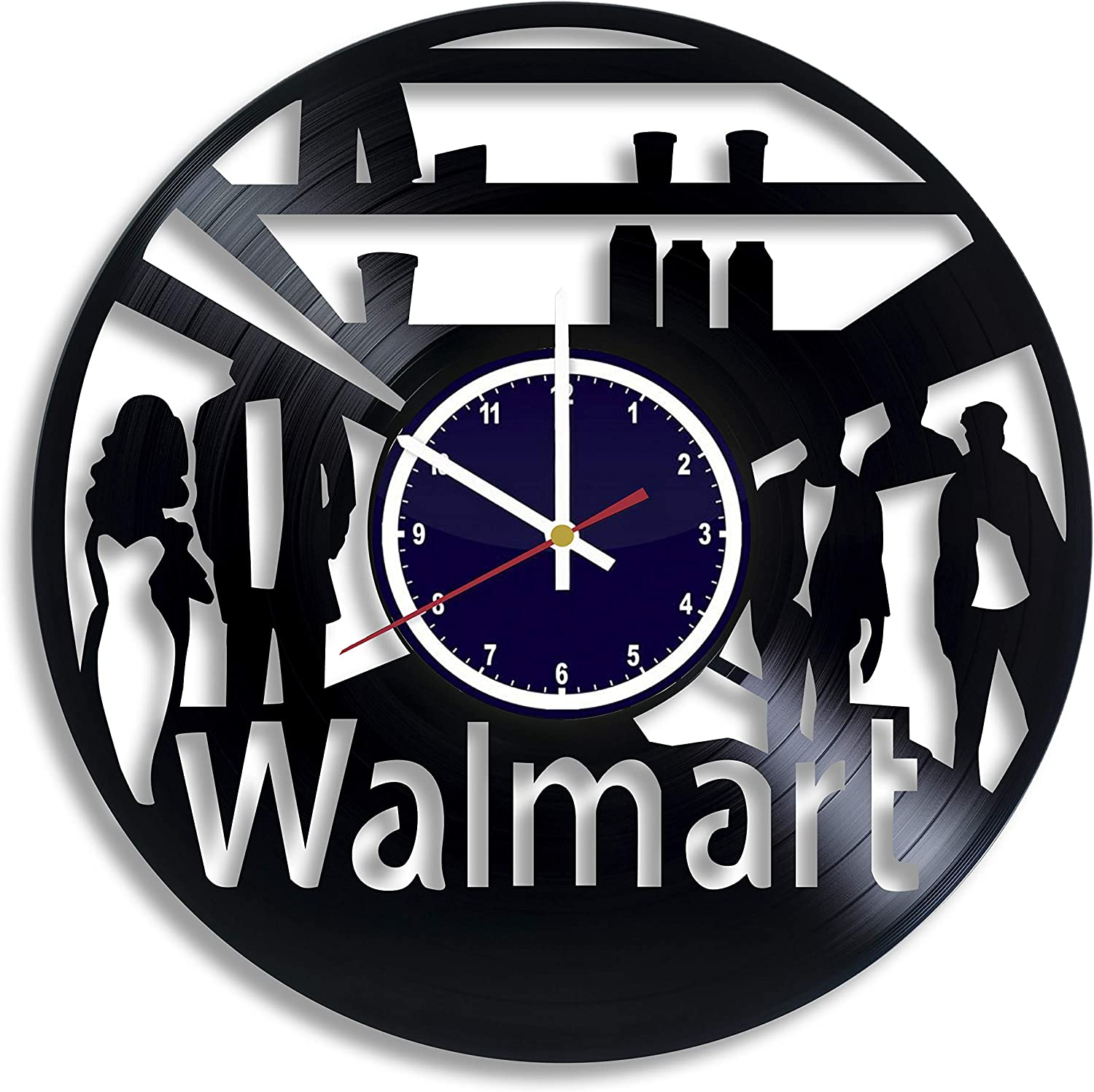 Amazon Com Buhnemoshop Walmart Company Handmade Vinyl Record Wall Clock Walmart Brand Logo Wall Poster Unique Kitchen Decor Ideas Walmart Gift For Him And Her Home Kitchen