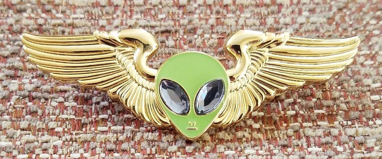 Alien Head GLOW IN THE DARK with WINGS LAPEL PIN