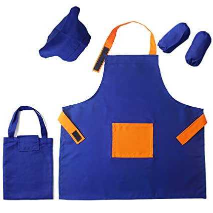 classic official photos ever popular 5 Pieces Kids Chef Apron Set,Adjustable Cotton Aprons With 2 Pockets For  Those Child's Chefs In Training(Blue-orange, medium)