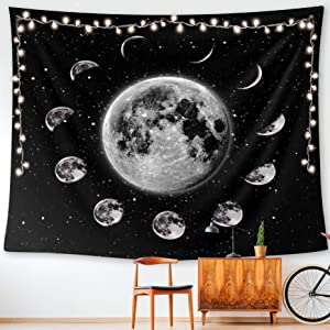 HUEMANKIND Eclipse Moon Tapestry Wall Hanging   Wall Tapestry For Bedroom Living Room, Home Decor   Hippie Decor Wall Art Trippy Tapestry   Black And White Moon Tapestry Design   Size Large (60