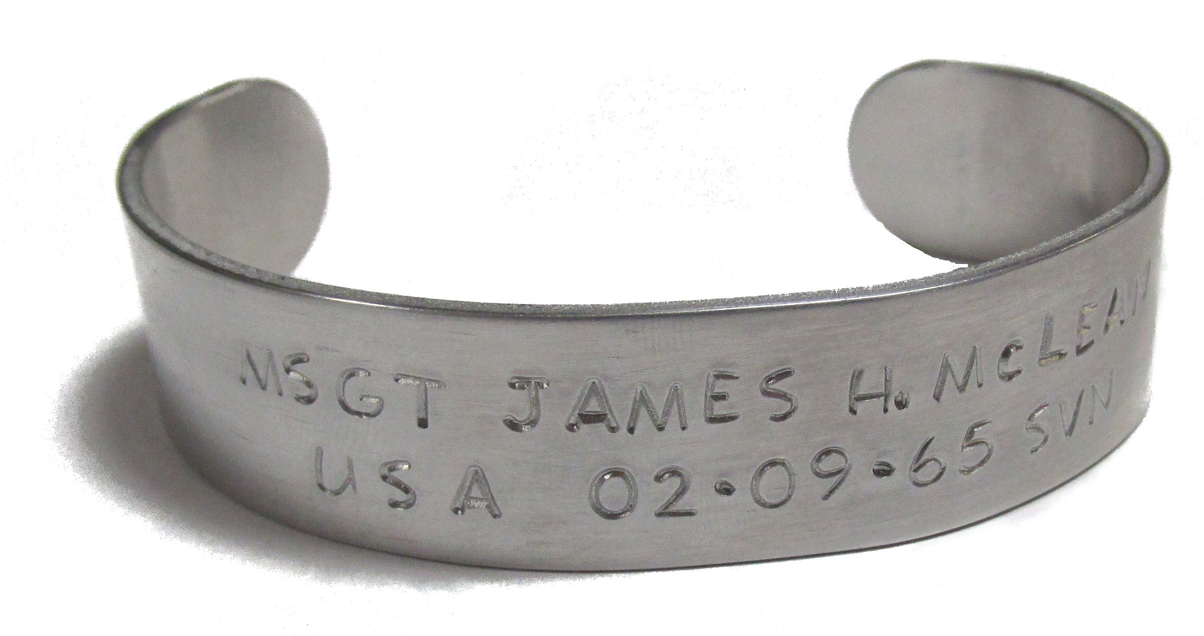 Personalized Aluminum Cuff Bracelet - Military Memorial Bracelet
