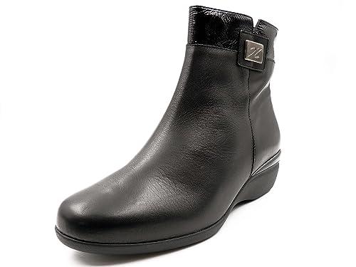 Botin mujer DOCTOR CUTILLAS, piel color negro combi charol, plantilla extraible - 55107 - 1: Amazon.es: Zapatos y complementos
