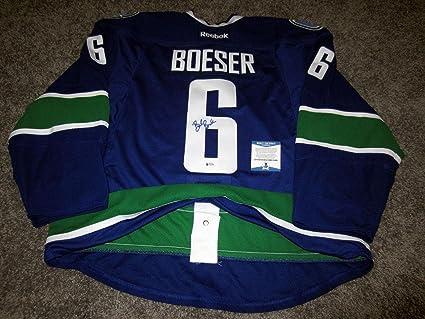 save off 7d460 589a4 Autographed Brock Boeser Jersey - w BAS COA 56 - Beckett ...