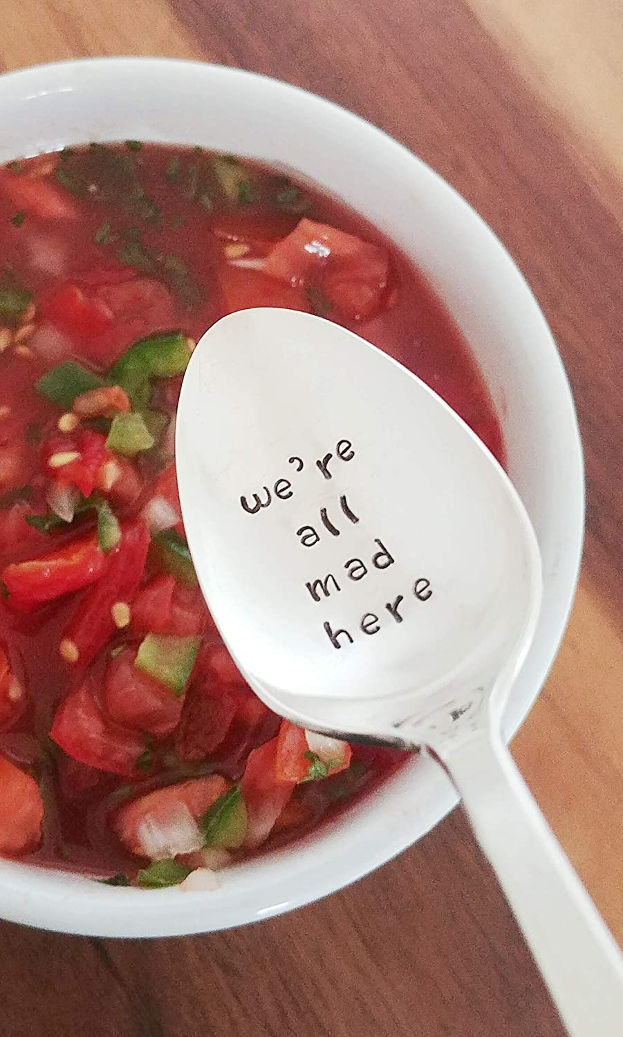 We're All Mad Here Hand Stamped Spoon Gift Under 30 Engraved Teaspoon Movie Quote