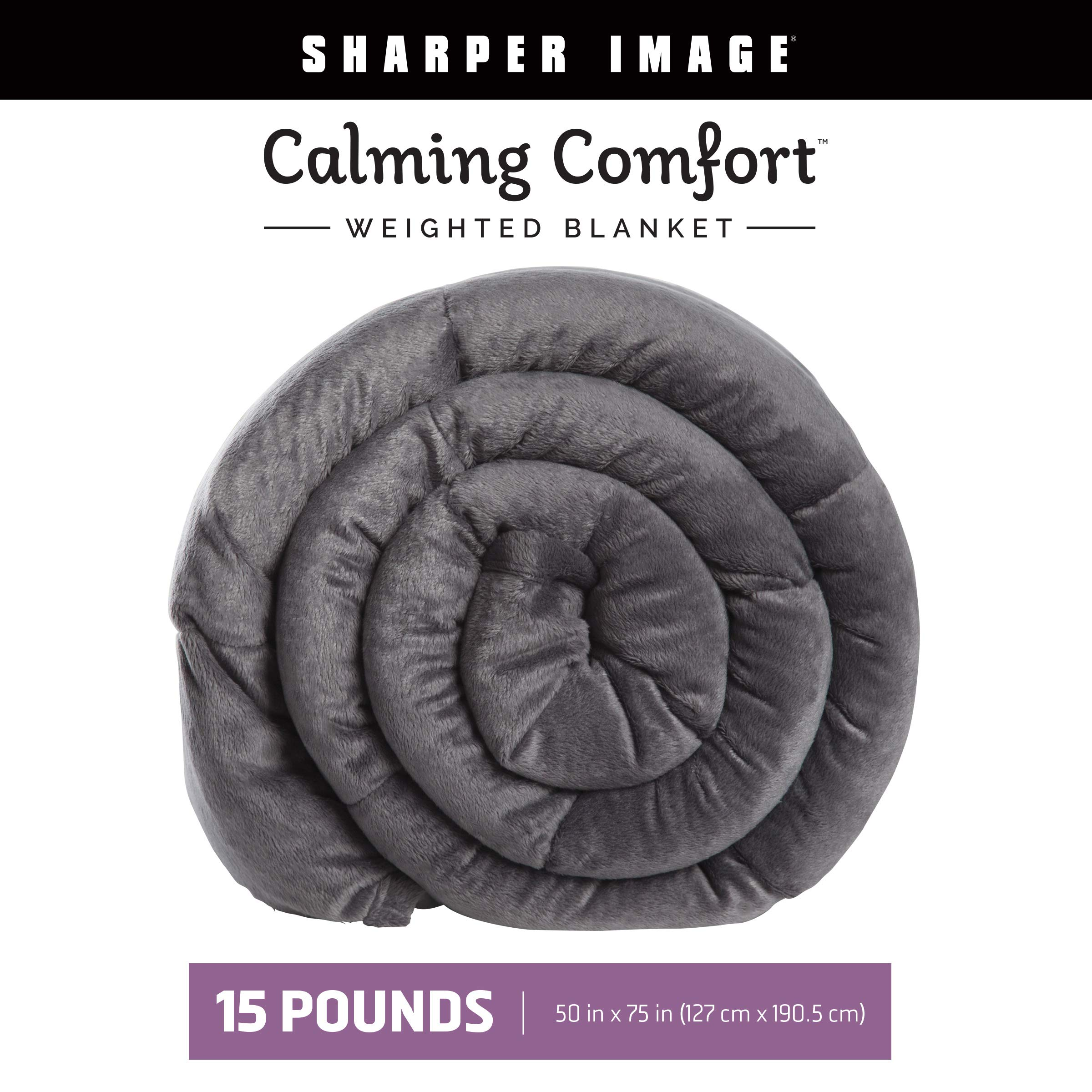 Calming Comfort Weighted Blanket by Sharper Image- A Heavy Blanket| 15 lb. 50'' x 75'', Grey