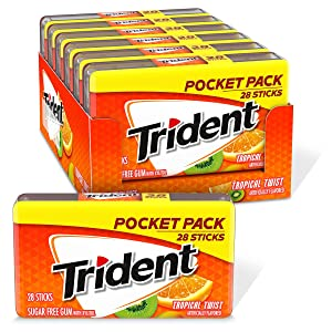 Trident Tropical Twist Sugar Free Gum, 6 Pocket Packs of 28 Pieces (168 Pieces Total)