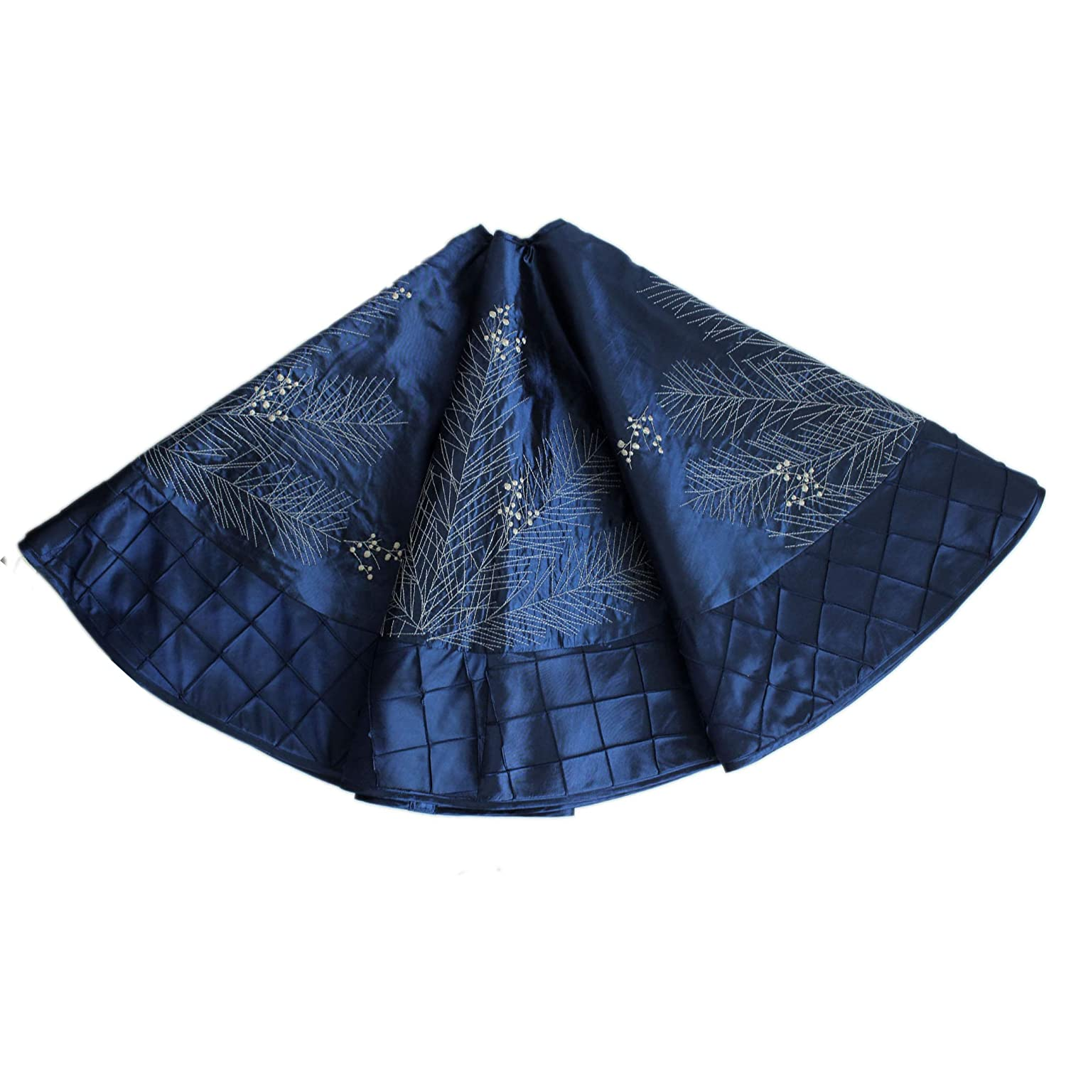 Gireshome 50 blue faux silk Deluxe Berry Embroidered with Handcraft Pintuck Border Christmas Tree Skirt Christmas Decoration
