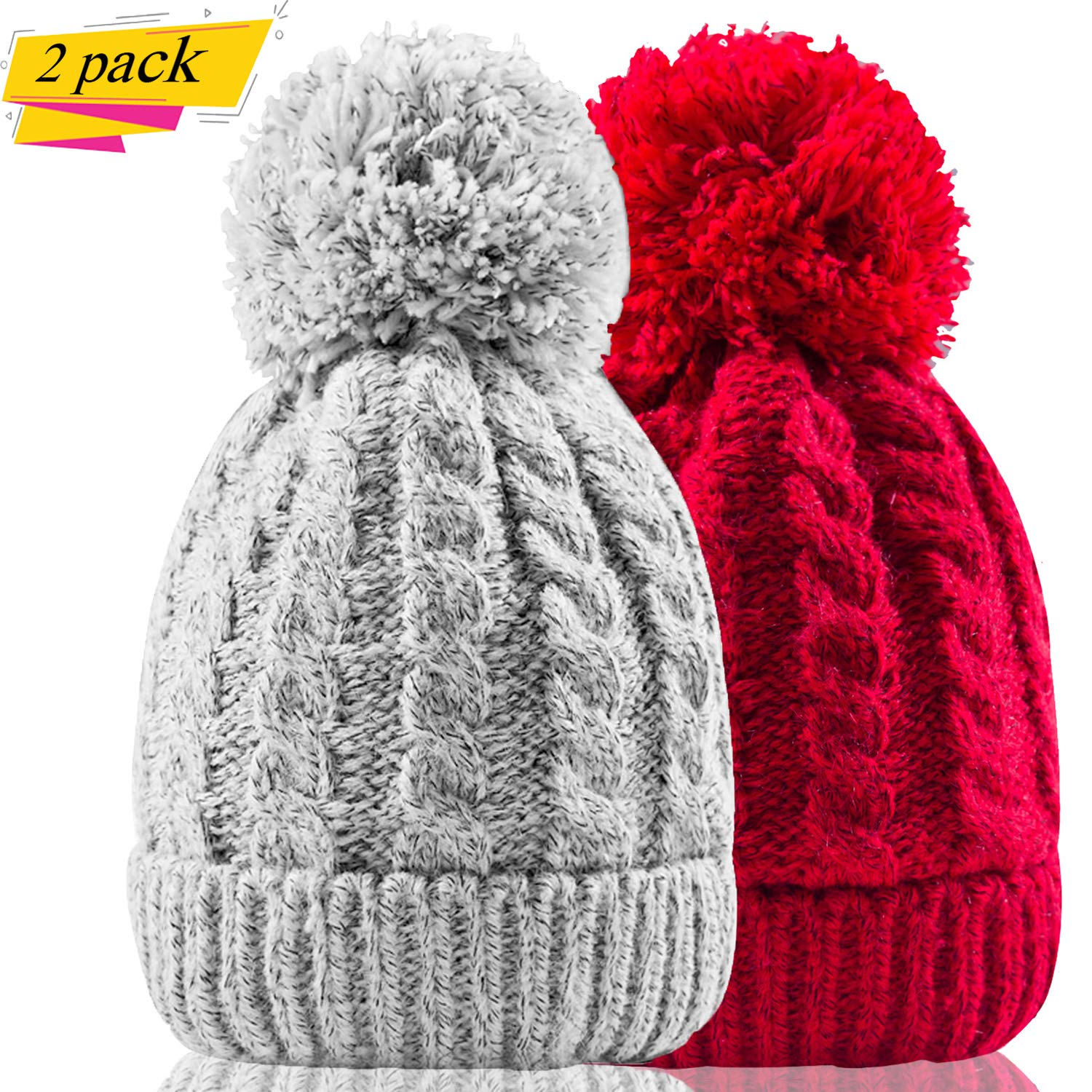Women's Winter Beanie Warm Fleece Lining - Thick Slouchy Cable Knit Skull Hat Ski Cap(Grey+red)