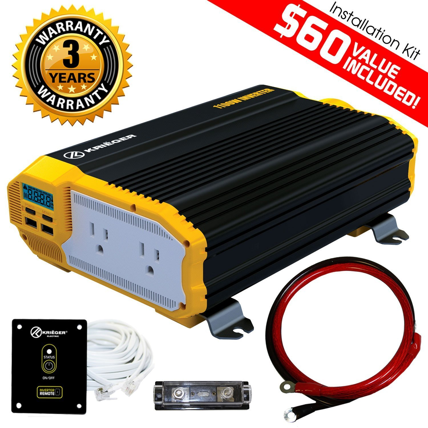 Kriger 1100 Watt 12v Power Inverter Dual 110v Ac Vehicle Wiring Diagram Outlets Installation Kit Included Automotive Back Up Supply For Blenders Vacuums
