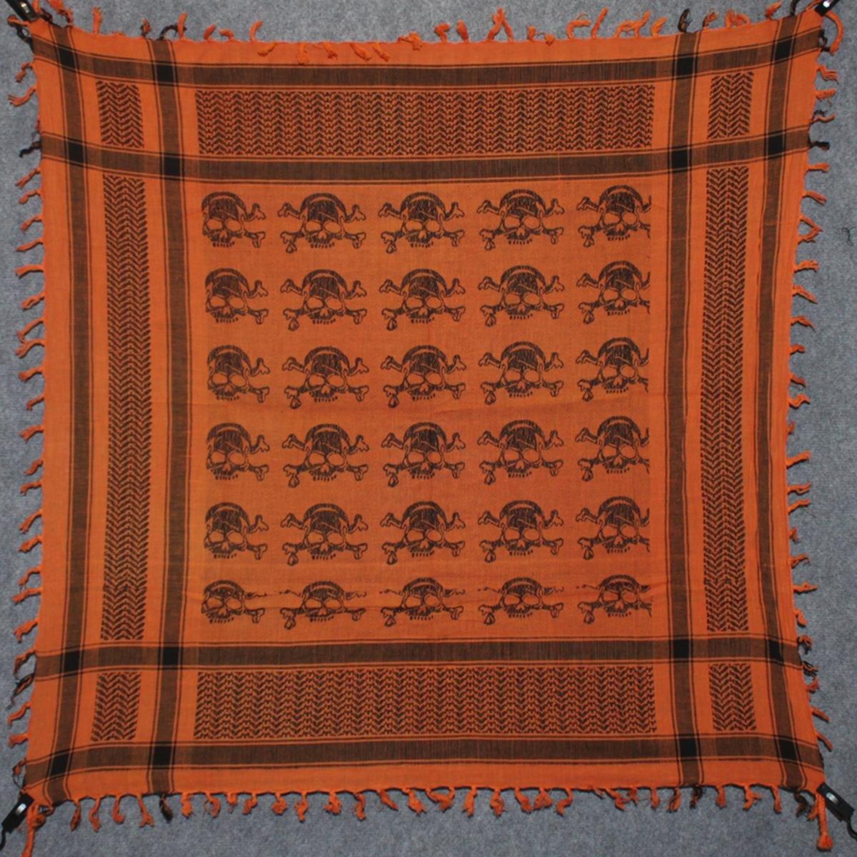 Freak Scene Foulard kefiah palestinese 100% cotone° motivo teschio 4 100x100 cm – arancione/nero