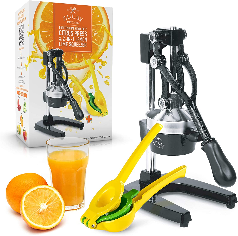 Zulay Professional Citrus Juicer Manual Citrus Press and Orange Squeezer + 2 in 1 Metal Lemon Squeezer COMPLETE SET Premium Quality Heavy Duty