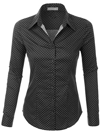 LE3NO Womens Tailored Long Sleeve Button Down Shirt with Stretch ...