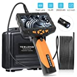 Teslong Inspection Camera, Dual Lens 4.3inch Screen Endoscope with Toughened Glass, 16.4ft Waterproof Semi-Rigid Tube Borescope Industrial Endoscope, 2600mAh Rechargeable Battery (16GB TF Card) (Color: Dual Lens (4.3inch), Tamaño: 5m/16.4ft)