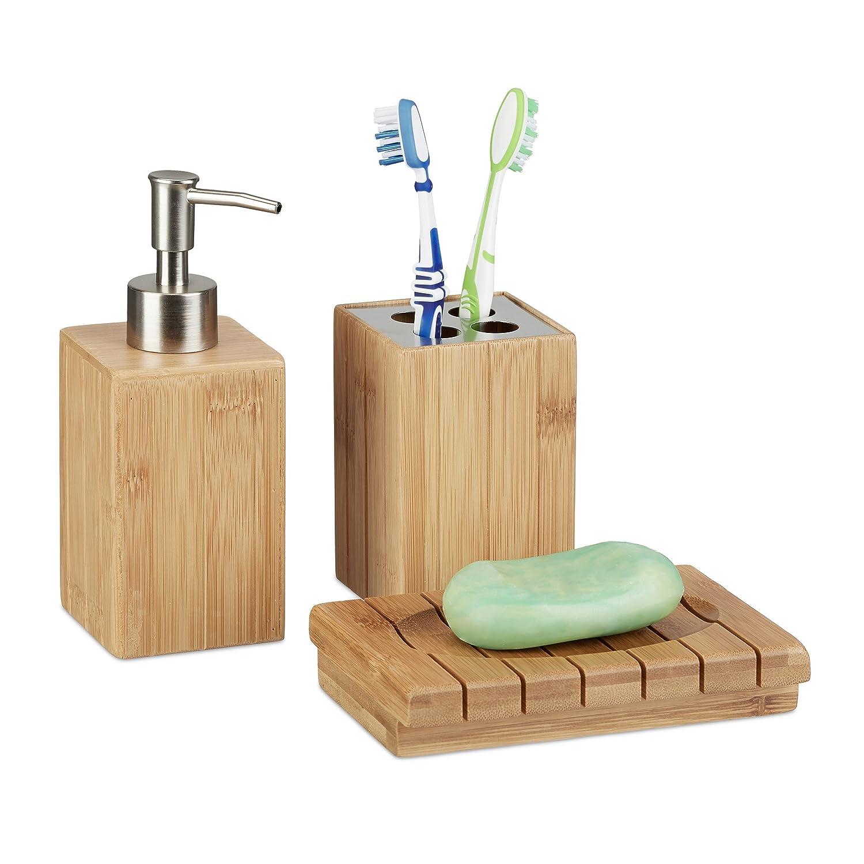 nature Relaxdays Accessoires salle de bain bambou Set 3 pi/èces distributeur savon gobelet brosse /à dent porte-savon