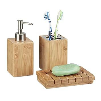 Relaxdays Accessoires salle de bain bambou Set 3 pièces distributeur savon  gobelet brosse à dent porte-savon, nature