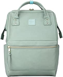 Kah&Kee Leather Backpack Diaper Bag with Laptop Compartment Travel School for Women Man (Mint Green, Large)