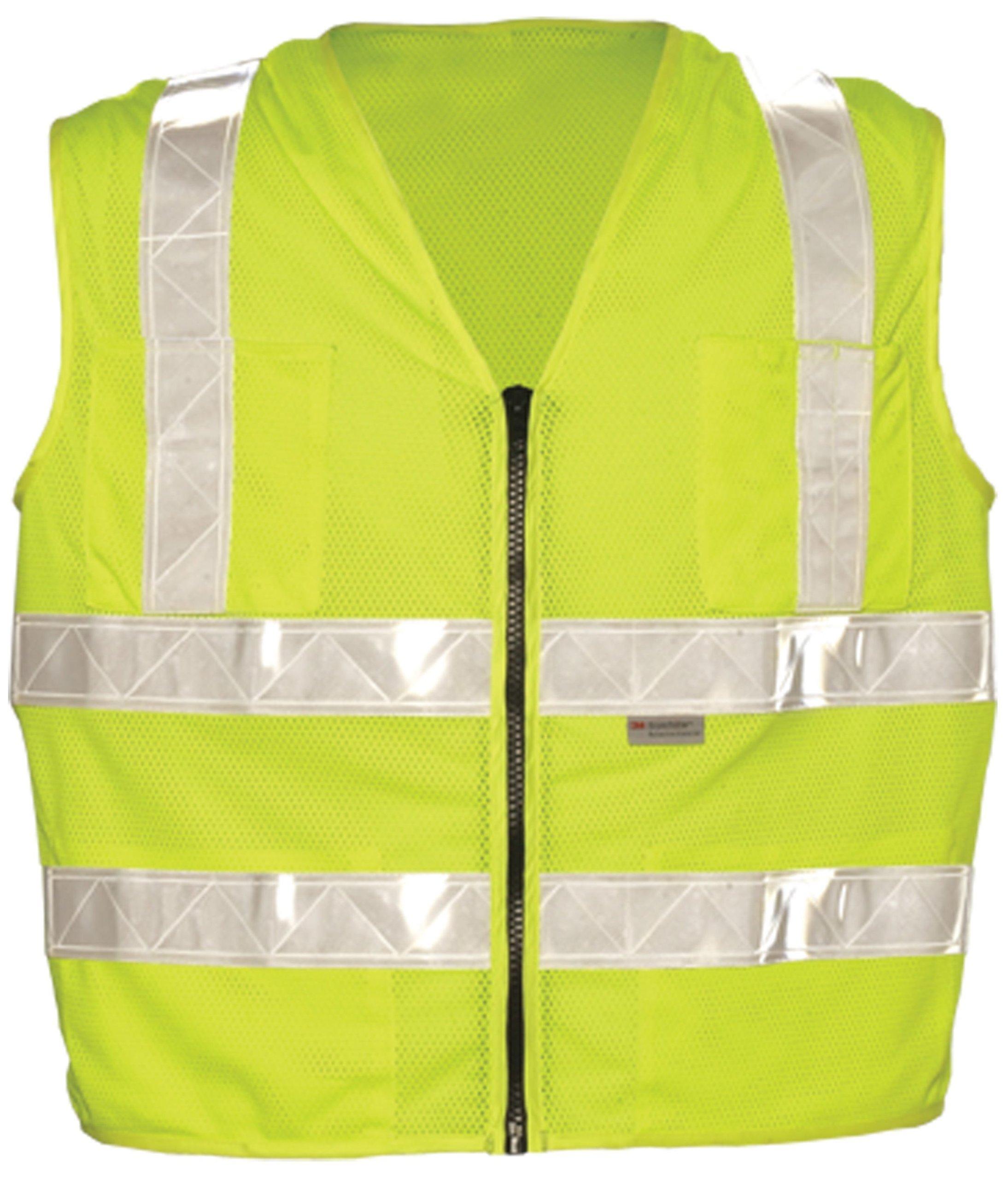 OK-1 00314 Zipper Style Lime Vest - White Trim, 2X-Large